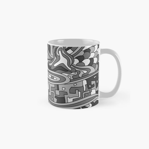 Wandering Abstract Line Art 03: Grayscale Classic Mug