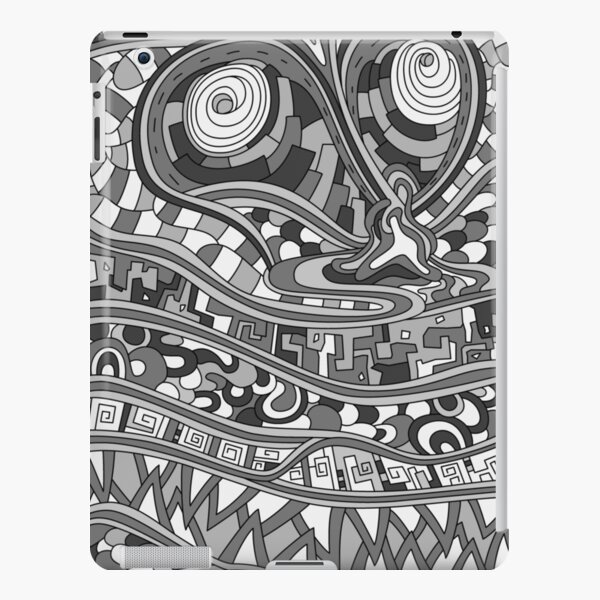 Wandering Abstract Line Art 03: Grayscale iPad Snap Case