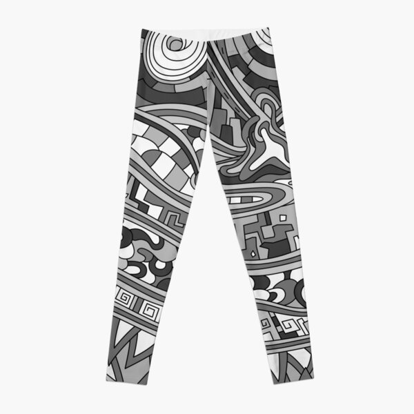 Wandering Abstract Line Art 03: Grayscale Leggings