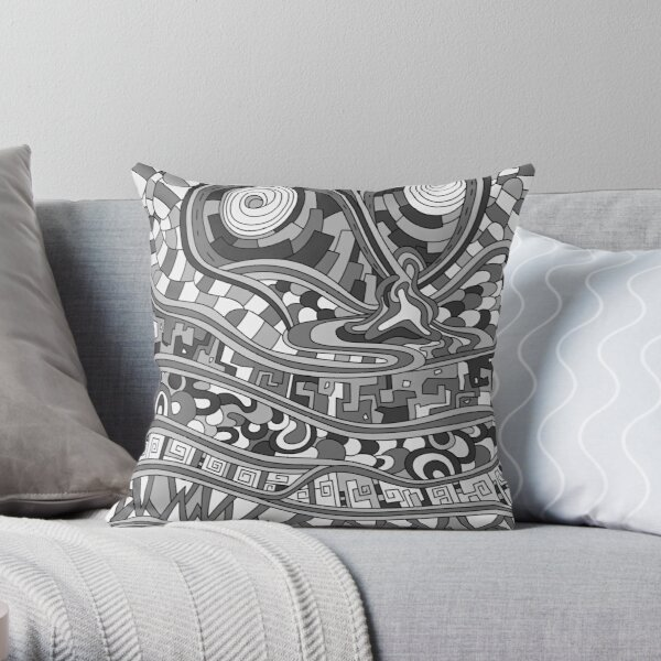 Wandering Abstract Line Art 03: Grayscale Throw Pillow