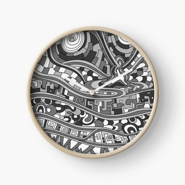 Wandering Abstract Line Art 03: Grayscale Clock