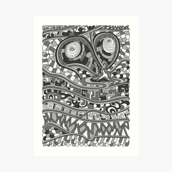 Wandering Abstract Line Art 03: Grayscale Art Print