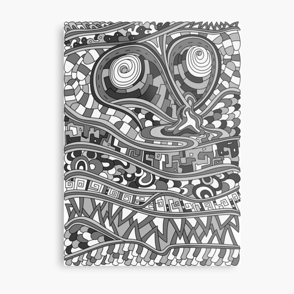 Wandering Abstract Line Art 03: Grayscale Metal Print