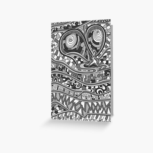 Wandering Abstract Line Art 03: Grayscale Greeting Card