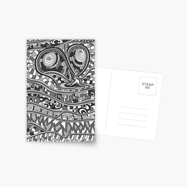 Wandering Abstract Line Art 03: Grayscale Postcard