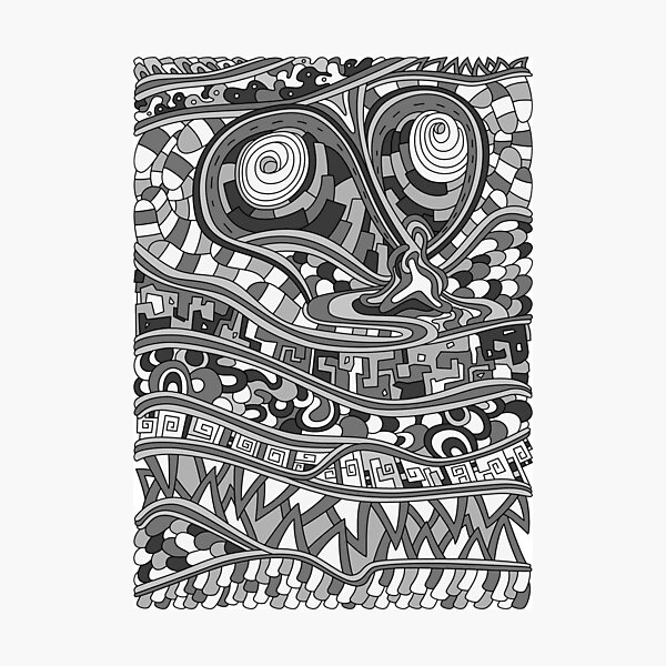 Wandering Abstract Line Art 03: Grayscale Photographic Print