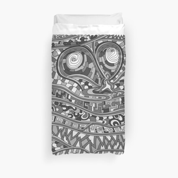 Wandering Abstract Line Art 03: Grayscale Duvet Cover