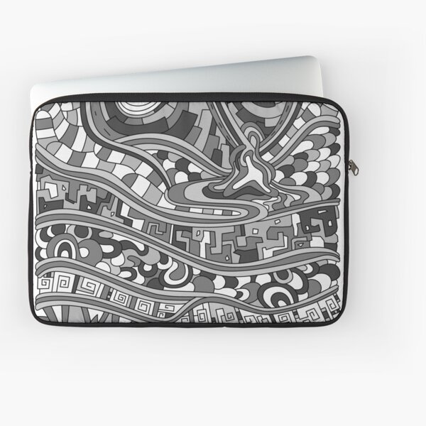 Wandering Abstract Line Art 03: Grayscale Laptop Sleeve
