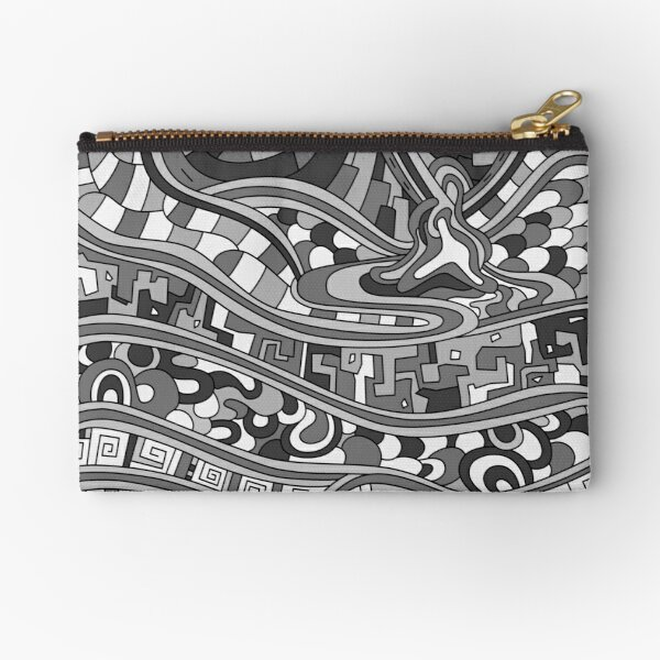 Wandering Abstract Line Art 03: Grayscale Zipper Pouch