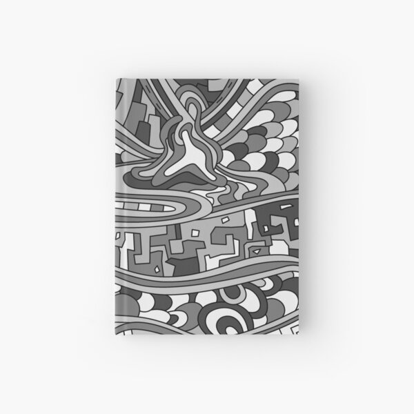Wandering Abstract Line Art 03: Grayscale Hardcover Journal