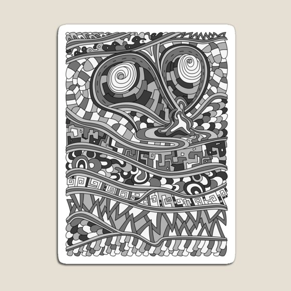 Wandering Abstract Line Art 03: Grayscale Magnet