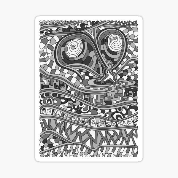 Wandering Abstract Line Art 03: Grayscale Sticker
