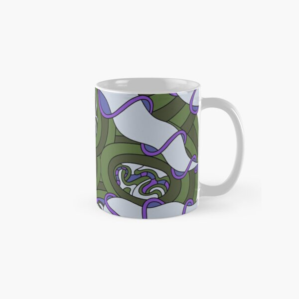 Wandering Abstract Line Art 04: Green Classic Mug