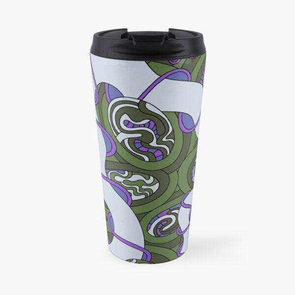 Wandering Abstract Line Art 04: Green Travel Mug