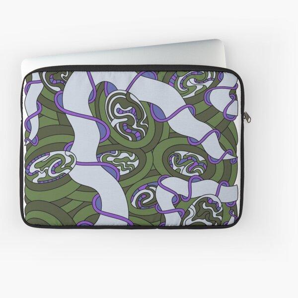 Wandering Abstract Line Art 04: Green Laptop Sleeve