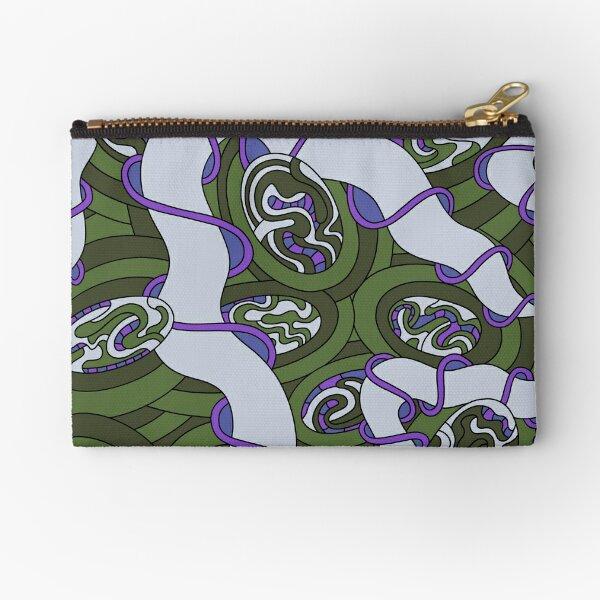 Wandering Abstract Line Art 04: Green Zipper Pouch
