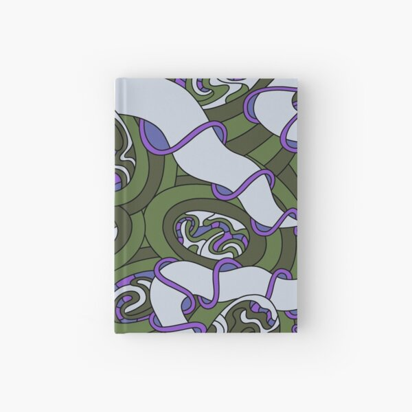 Wandering Abstract Line Art 04: Green Hardcover Journal