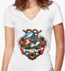 Navy Pinup Women's Fitted V-Neck T-Shirt