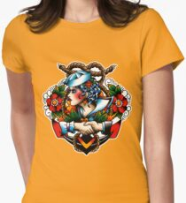 Navy Pinup Womens Fitted T-Shirt