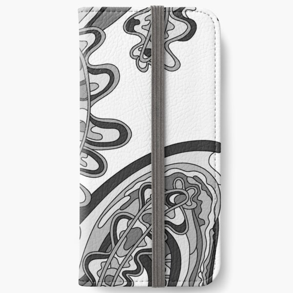 Wandering Abstract Line Art 07: Grayscale iPhone Wallet