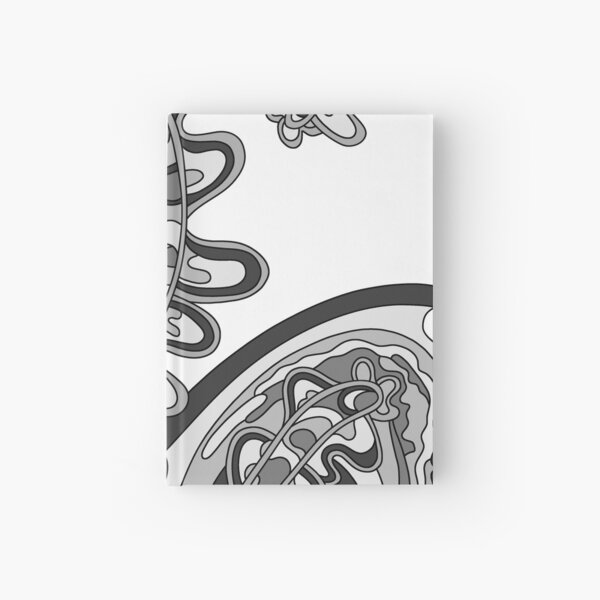 Wandering Abstract Line Art 07: Grayscale Hardcover Journal