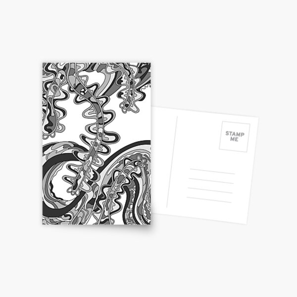 Wandering Abstract Line Art 07: Grayscale Postcard