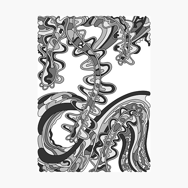 Wandering Abstract Line Art 07: Grayscale Photographic Print