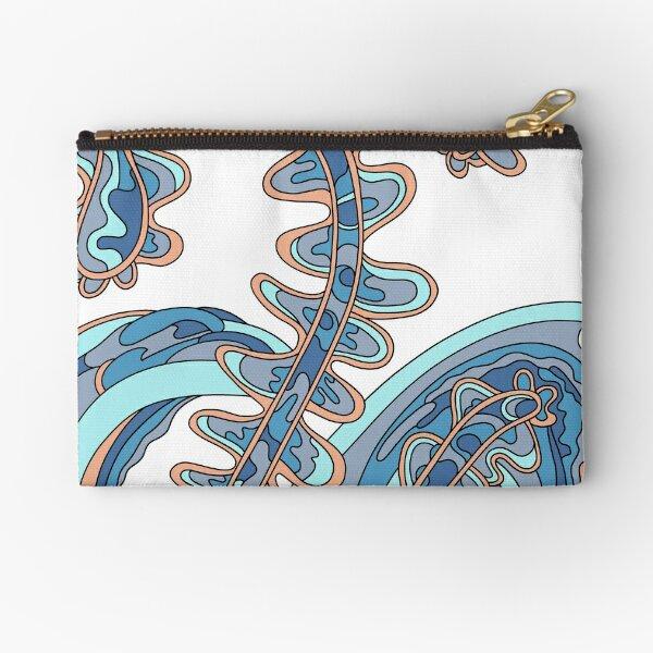 Wandering Abstract Line Art 07: Blue Zipper Pouch