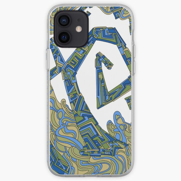 Wandering Abstract Line Art 08: Green iPhone Soft Case