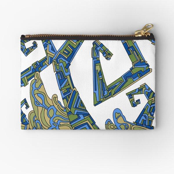 Wandering Abstract Line Art 08: Green Zipper Pouch