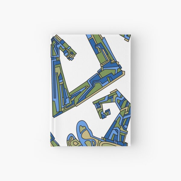 Wandering Abstract Line Art 08: Green Hardcover Journal