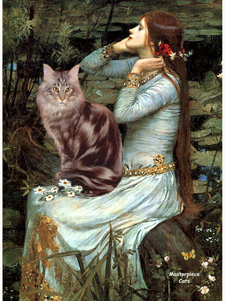 """Famous Art:  """"Ophelia"""" (Waterhouse)-adapted-Maine Coon Cat by JeanBFitzgerald"""