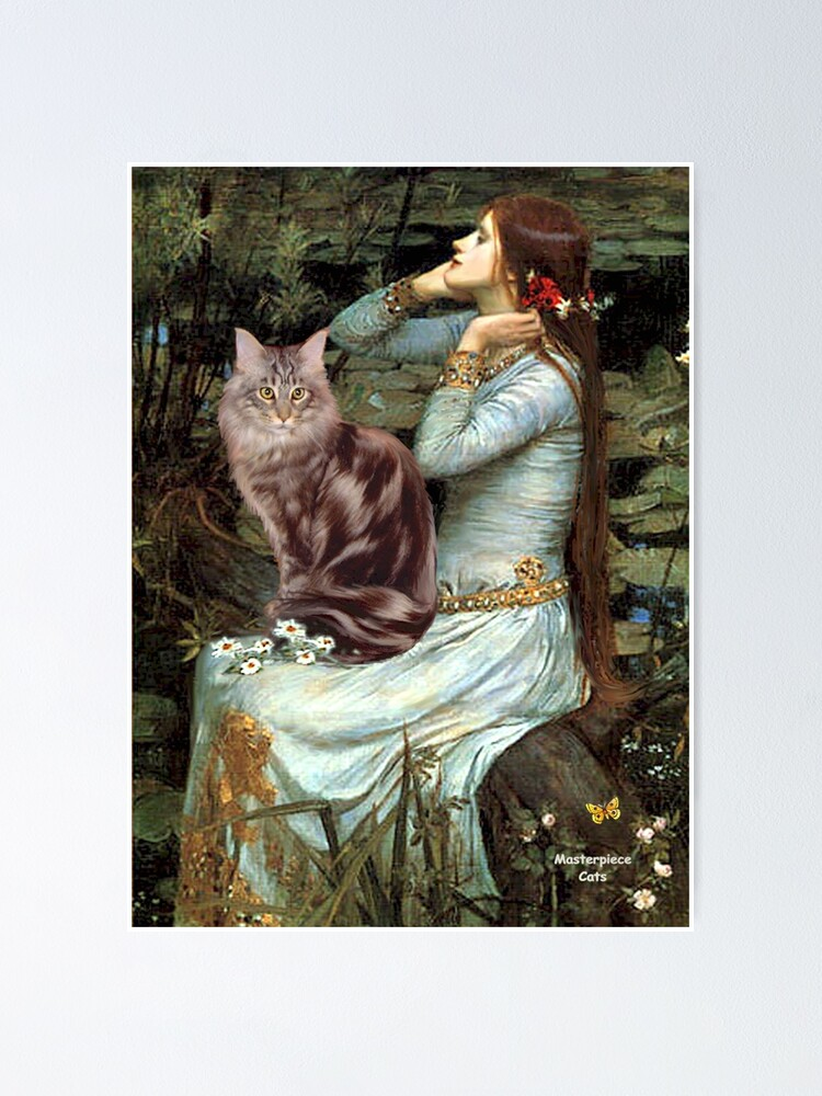 """Alternate view of Famous Art:  """"Ophelia"""" (Waterhouse)-adapted-Maine Coon Cat Poster"""