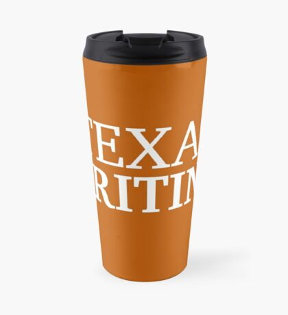 Texas Writing with White Text Travel Mug