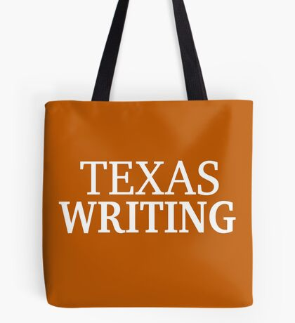 Texas Writing with White Text Tote Bag