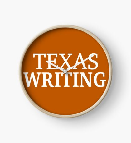 Texas Writing with White Text Clock