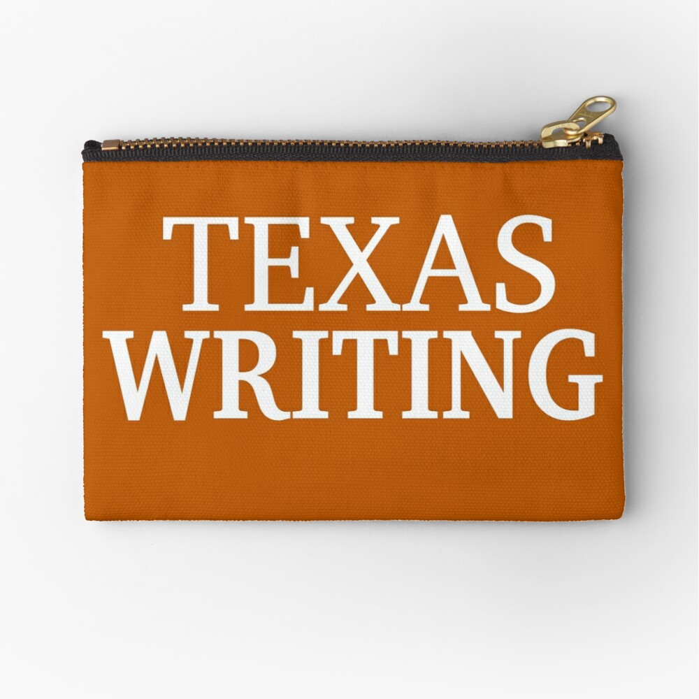 Texas Writing with White Text Zipper Pouch