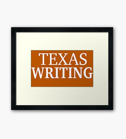 Texas Writing with White Text Framed Print