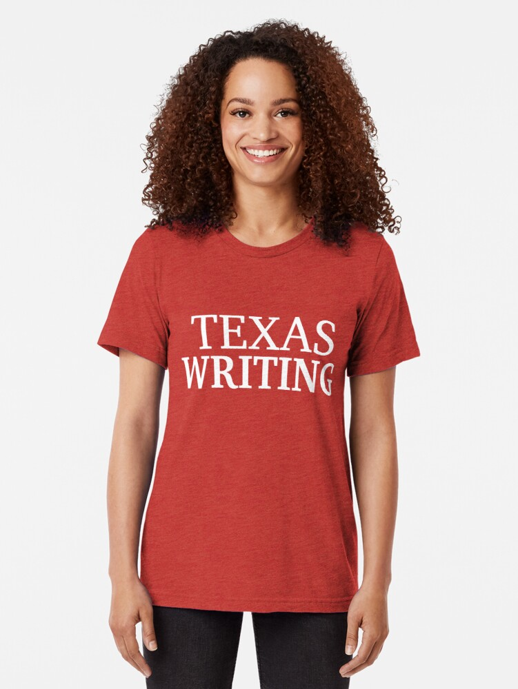 Alternate view of Texas Writing with White Text Tri-blend T-Shirt