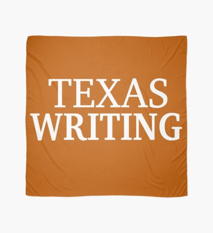 Texas Writing with White Text Scarf