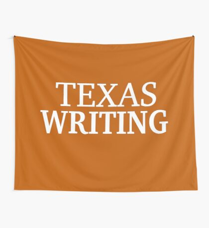 Texas Writing with White Text Wall Tapestry