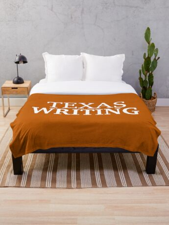 Texas Writing with White Text Throw Blanket