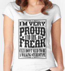 Proud to be a freak - Black Women's Fitted Scoop T-Shirt