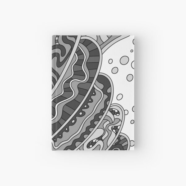 Wandering Abstract Line Art 11: Grayscale Hardcover Journal