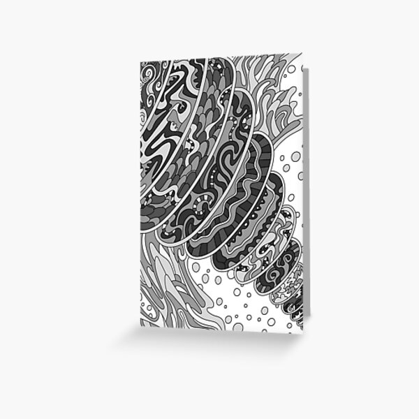 Wandering Abstract Line Art 11: Grayscale Greeting Card