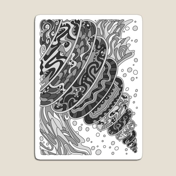 Wandering Abstract Line Art 11: Grayscale Magnet