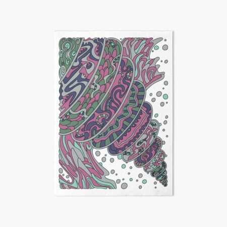 Wandering Abstract Line Art 11: Pink Art Board Print