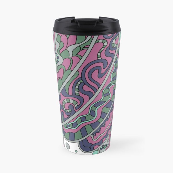 Wandering Abstract Line Art 11: Pink Travel Mug