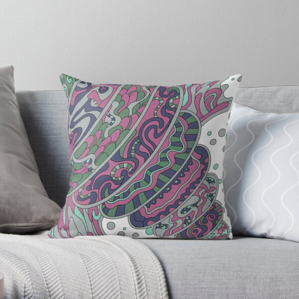 Wandering Abstract Line Art 11: Pink Throw Pillow