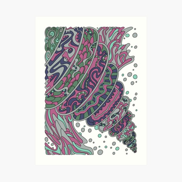 Wandering Abstract Line Art 11: Pink Art Print